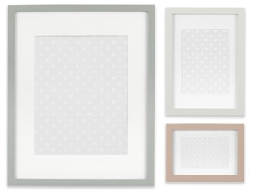 Trenton, ensemble de 3 cadres façon galerie, rose et gris