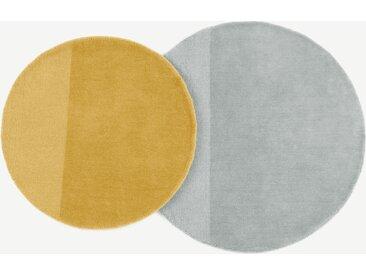 Ronda, lot de 2 tapis ronds en laine, gris et jaune moutarde