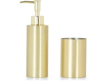 Lilo, ensemble distributeur de savon et gobelet, laiton