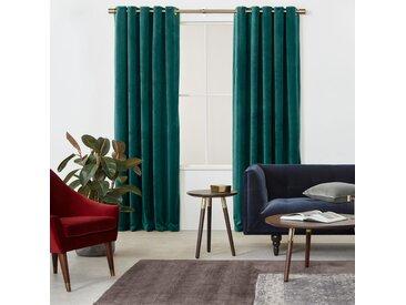 Julius, paire de rideaux doublés à œillets 168 x 228, velours bleu canard