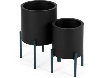 Noor, lot de 2 cache-pots ronds sur pied, métal galvanisé noir et bleu canard