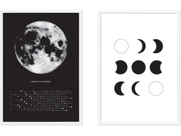 Moon Phase Diary, lot de 2 illustrations en noir et blanc et cadres blancs format A3