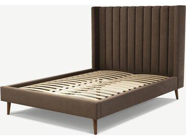 Cory, lit double (140 x 200) avec sommier à lattes, velours de coton truffe et chêne teinté noyer