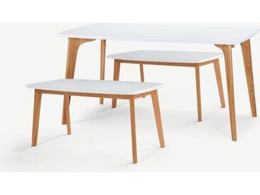 Fjord, ensemble table rectangulaire 6 personnes et 2 bancs, blanc et pieds en chêne