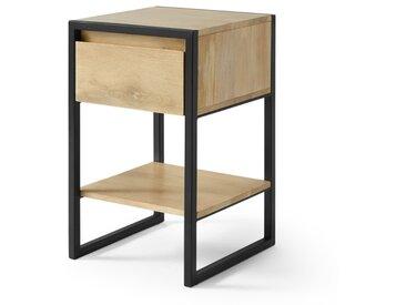 Rena, table de chevet, bois de manguier et métal noir
