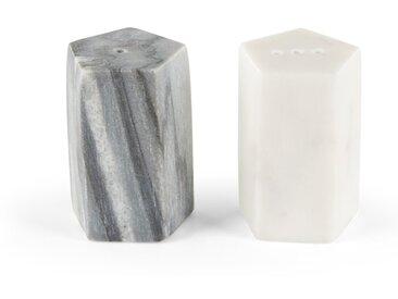 Sienna, ensemble salière et poivrière pentagonales, blanc et gris