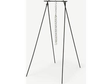Portique de cuisson de plein air et chaîne, métal noir