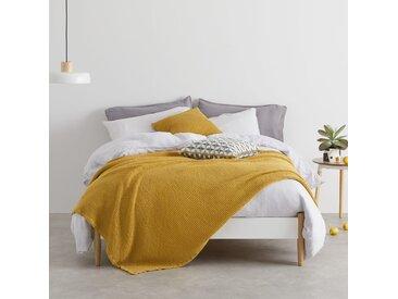 Grove, couvre-lit gaufré 100% coton délavé, 150 x 200 cm, jaune moutarde