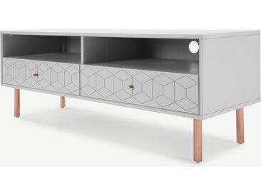 Hedra, meuble TV, gris et cuivre
