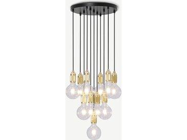 Othello, suspension multiple 11 ampoules, métal noir et laiton brossé