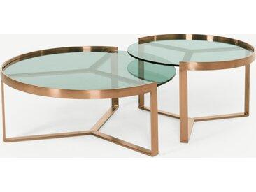 Aula, tables basses gigognes, cuivre brossé et verre teinté vert