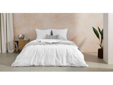 Furano, linge de lit (housse de couette + 2 taies d'oreiller) en coton, king size (240 x 220), blanc