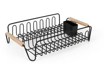 Coombe, égouttoir à vaisselle avec poignées en bois d'hévéa, métal noir