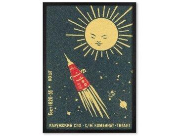 Fusée vintage, affiche illustrée et cadre noir (disponible en plusieurs tailles)