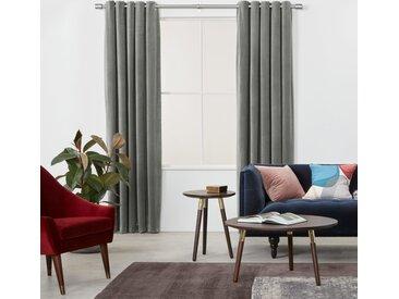 Julius, paire de rideaux doublés à œillets 135 x 260 cm, velours gris argenté
