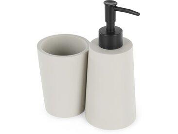 Impasto, ensemble distributeur de savon et gobelet, résine grise fini béton