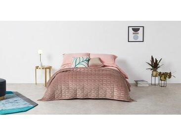 Julius, couvre-lit 225 x 220 cm en velours rose pâle