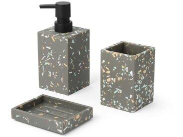 Stellan, distributeur de savon et set de rangement pour la salle de bain en terrazzo, gris