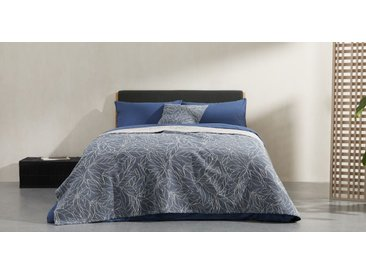 Joana, couvre lit 100% coton, 225 x 220 cm, bleu indigo et naturel
