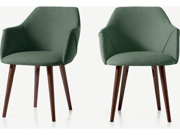 Lule, lot de 2 chaises à accoudoirs, vert sauge et noyer