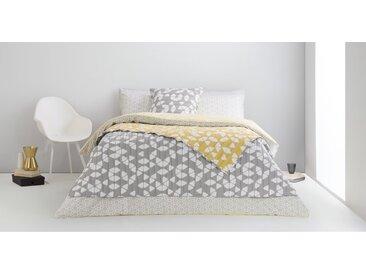 Trio, couvre-lit, gris et moutarde