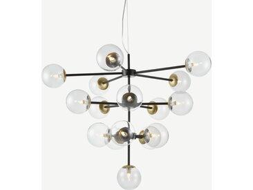 Globe, très grand lustre en métal noir 16 ampoules, laiton et verre fumé clair