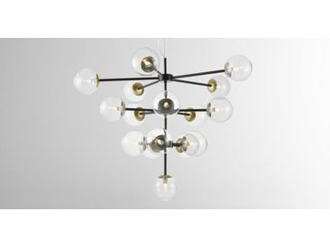 Globe Statement Pendant Chandelier Extra Large, Black, Antique Brass and Smoked Glass
