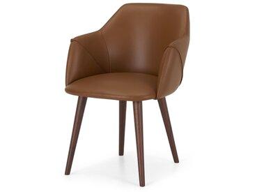 Lule, chaise à accoudoirs, cuir naturel et noyer