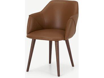 Lule, chaise à accoudoirs, cuir beige et noyer