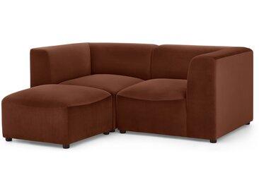Juno, canapé modulable 2 places avec repose-pieds, velours caramel