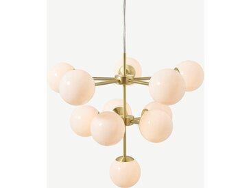 Globe, lustre 11 ampoules, laiton et verre opale