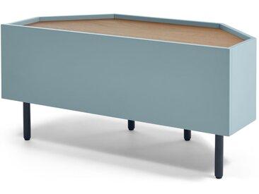 MADE Essentials - Mino, meuble TV d'angle, chêne et bleu