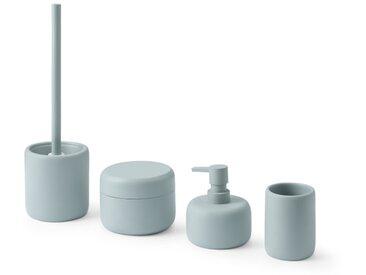 Amari, set de 4 rangements pour la salle de bain et brosse de toilettes, bleu clair