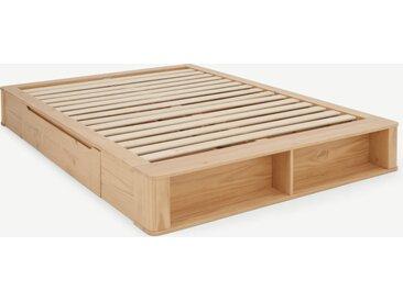 Kano, lit à tiroirs double (140 x 200) avec sommier à lattes, pin