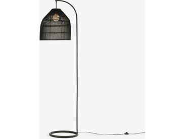 Java, lampadaire arqué, métal et rotin noir
