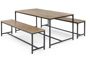 Lomond, ensemble table 6 personnes et 2 bancs, bois de manguier et métal noir