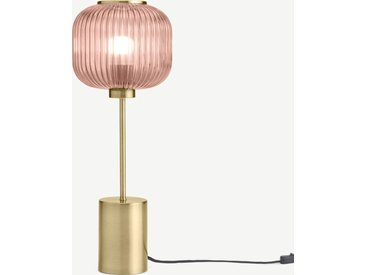Briz, lampe de table, laiton antique et rose