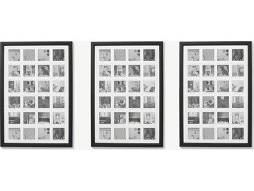 Diment, lot de 3 cadres photos multivues, noir