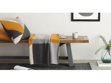 Holden, plaid tricoté en coton 130 x 170 cm, jaune et gris