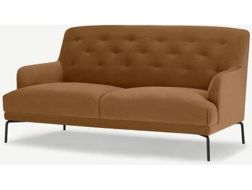 Attwood, grand canapé 2 places, velours ambre doré