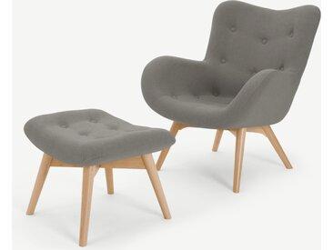 Doris, fauteuil et repose-pieds, gris ardoise Shetland