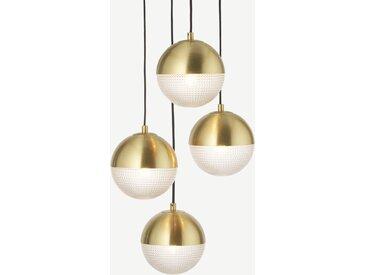 Cher, suspension 4 ampoules, verre texturé et laiton