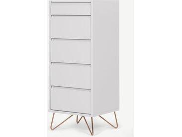 Elona, commode haute 4 tiroirs avec coiffeuse et miroir intégrés, gris et cuivre