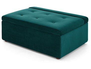 Ilma, ottomane convertible en lit 1 place, velours bleu écume