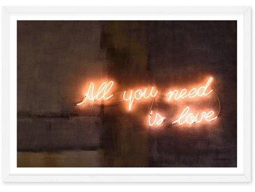Illustration typographique néon en couleur et cadre format A2, All You Need Is Love