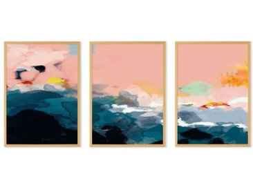 Abstract Landscape, lot de 3 illustrations en couleur et cadres chêne format A3