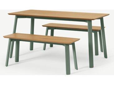 Asuna, ensemble table et 2 bancs, chêne et vert fougère