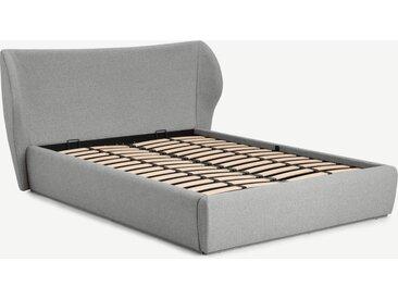 Topeka, lit coffre double (140 x 200) avec sommier à lattes, gris montagne