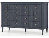 Bourbon, grande commode 10 tiroirs de style ancien, bois peint bleu canard et laiton