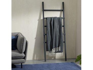 Burley, plaid en laine 125 x 170 cm, bleu foncé et gris